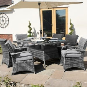 Maze Rattan Texas Garden Grey 6 Seater Rectangle Table Set