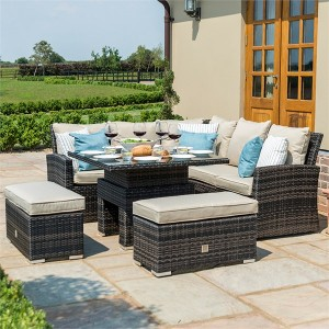 Maze Rattan Garden Furniture Richmond Brown Corner Dining Set with Rising Table