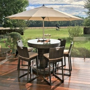Maze Rattan Garden 6 Seat Round Bar Set with Ice Bucket Brown