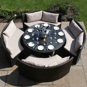 Maze Rattan Garden Furniture Dallas Sofa Set Brown