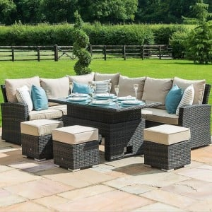 Maze Rattan Kingston Garden Brown Corner Dining Set With Rising Table