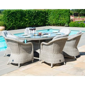 Maze Rattan Oxford 6 Seat Oval Fire Pit Table With Heritage Chairs