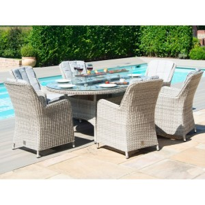 Maze Rattan Oxford 6 Seat Oval Fire Pit Table With Venice Chairs