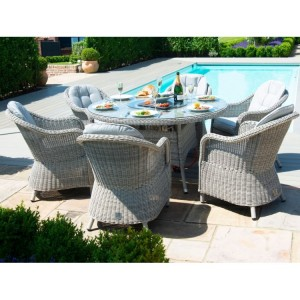 Maze Rattan Oxford 6 Seat Round Fire Pit Table With Heritage Chairs