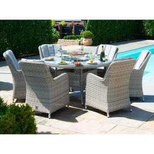 Maze Rattan Oxford 6 Seat Round Fire Pit Table With Venice Chairs