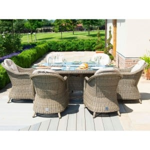Maze Rattan Winchester 6 Seat Oval Fire Pit Table With Heritage Chairs