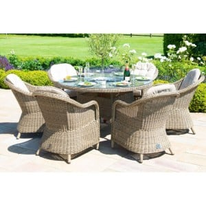 Maze Rattan Winchester 6 Seat Round Fire Pit Table With Heritage Chairs
