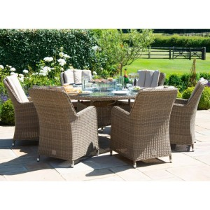 Maze Rattan Winchester 6 Seat Round Fire Pit Table With Venice Chairs