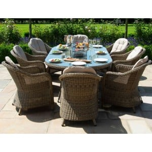 Maze Rattan Winchester 8 Seat Oval Fire Pit Table With Heritage Chairs