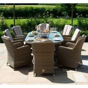 Maze Rattan Winchester 8 Seat Oval Fire Pit Table With Venice Chairs
