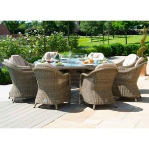 Maze Rattan Winchester 8 Seat Round Fire Pit Table With Heritage Chairs