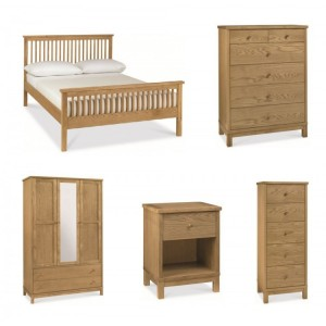 Atlanta Oak Furniture Kingsize Bedroom Set with High Foot End Bed