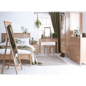 Bergen Oak Furniture Double 4ft6 Bedroom Set