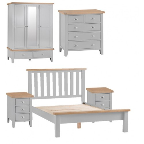 Tenby Grey Painted Furniture Kingsize 5ft Bedroom Package
