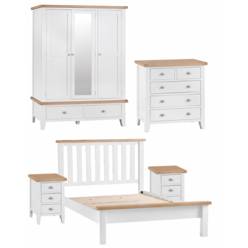 Tenby White Painted Furniture Kingsize 5ft Bedroom Package