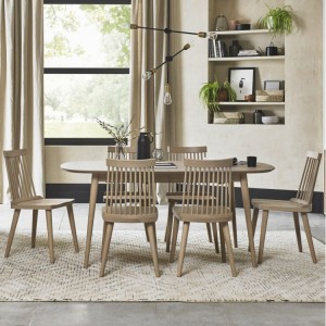 Bentley Designs Dansk Oak Furniture 6-8 Seat Ext Table & Ilva Chairs Set