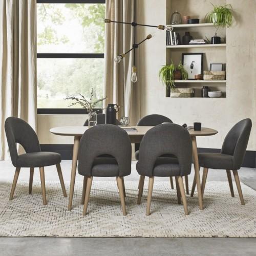 Bentley Designs Dansk Oak Furniture 6-8 Seat Ext Table & Steel Chairs Set