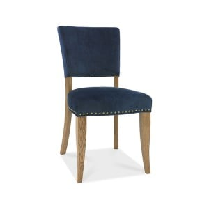 Bentley Designs Indus Oak Furniture Upholstered Blue Velvet Chair (Pair)