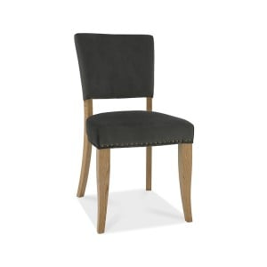 Bentley Designs Indus Oak Furniture Upholstered Grey Velvet Chair (Pair)