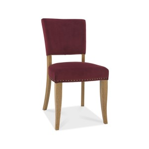 Bentley Designs Indus Oak Furniture Upholstered Red Velvet Chair (Pair)