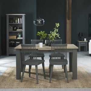 Bentley Designs Oakham Grey Painted & Oak 4-6 Extension Dining Table