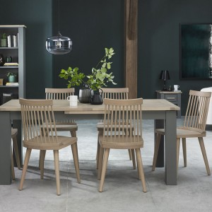 Bentley Designs Oakham Grey Painted & Oak 6-8 Extension Dining Table