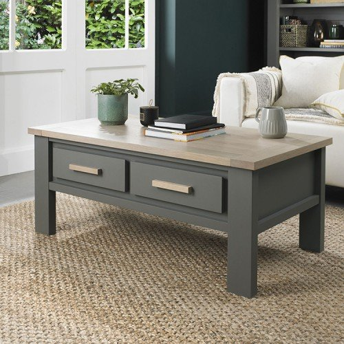 Bentley Designs Oakham Grey Painted & Oak Coffee Table
