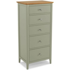 Berlin Painted & Oak Furniture 5 Drawer Tall Chest