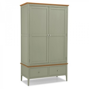 Berlin Painted & Oak Furniture Double Wardrobe With 2 Drawers