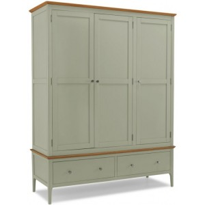 Berlin Painted & Oak Furniture Triple Wardrobe