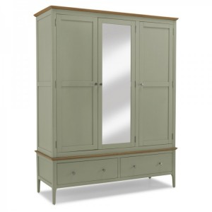Berlin Painted & Oak Furniture Triple Wardrobe With Mirror