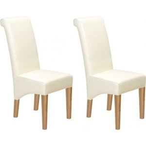 Lavaux Oak Furniture Bonded Beige Leather Dining Chairs Pair