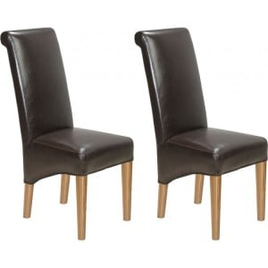 Lavaux Oak Furniture Bonded Brown Leather Dining Chairs Pair