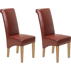 Lavaux Oak Furniture Bonded Red Leather Dining Chairs Pair