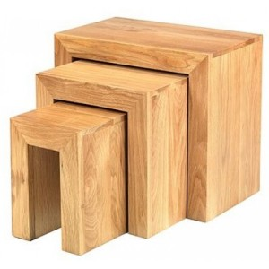 Lavaux Oak Furniture Nest Of 3 Tables
