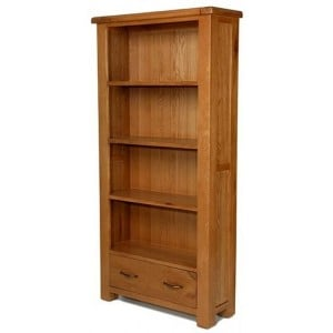 Saltaire Oak Furniture Large Bookcase With Drawer