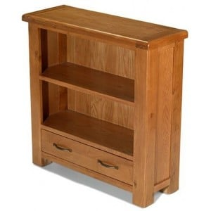 Saltaire Oak Furniture Low Bookcase With Drawer