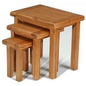 Saltaire Oak Furniture Nest Of 3 Tables