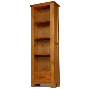 Saltaire Oak Furniture Slim Bookcase With Drawer