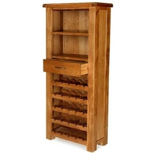 Saltaire Oak Furniture Tall Wine Cabinet