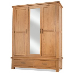 Westminster Oak Furniture Triple Wardrobe With Drawers And Mirror