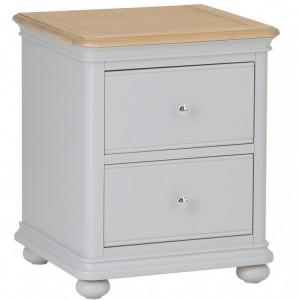 Brooklyn Essential Soft Grey & Oak Furniture 2 Drawer Bedside