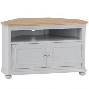 Brooklyn Essential Soft Grey & Oak Furniture Corner TV Unit