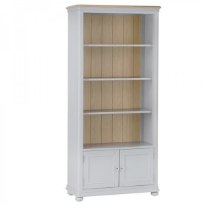 Brooklyn Essential Soft Grey & Oak Furniture Large Bookcase