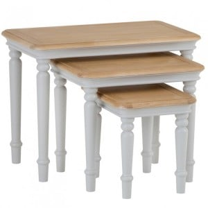 Brooklyn Essential Soft Grey & Oak Furniture Nest Of 3 Tables