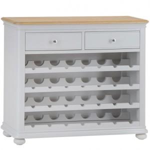 Brooklyn Essential Soft Grey & Oak Furniture Wine Cabinet