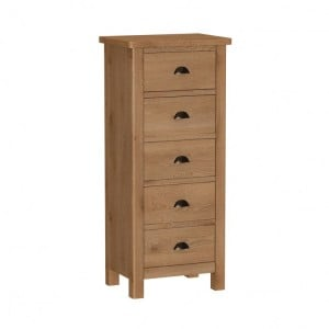 Buxton Rustic Oak Furniture 5 Drawer Narrow Chest
