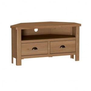 Buxton Rustic Oak Furniture Corner TV Unit