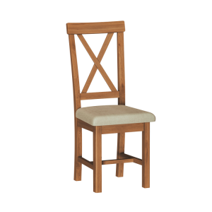 Buxton Rustic Oak Furniture Cross Back Dining Chair (Pair)
