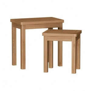 Buxton Rustic Oak Furniture Nest Of 2 Tables